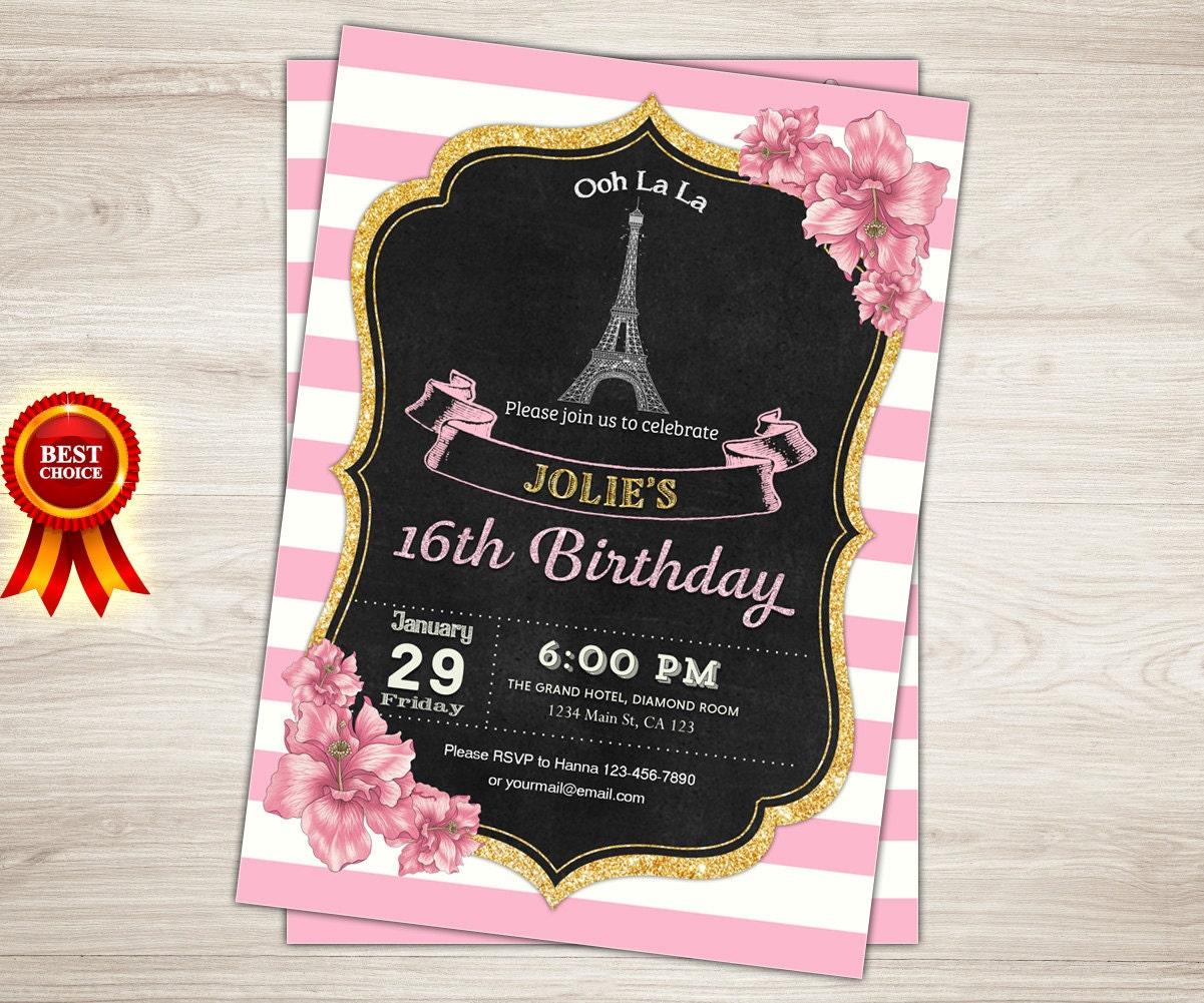 Paris Sweet 16 Birthday Invitation. Printable Sweet Sixteen