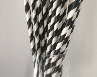 Black Striped Straws, Black Paper Straws, Paper Straws, Drinking Straws, Wedding Straws, Party Straws, Birthday Party Straws, Baby Shower
