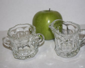 Tiny Cut Glass Sugar and Creamer - Miniature glass dishes - Heavy Vintage Set