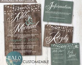 Rustic Wedding, Save The Date, Invitation Kit, Thank You Card, Printable, Postcard