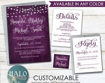 Plum Wedding Invitations - Invitation Kit, plum, eggplant, navy, water color