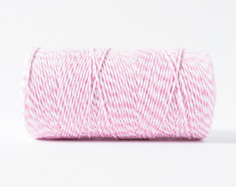 Light Pink and White Twine, Pink and White Bakers Twine, Pink Packaging Twine, Pink String, Light Pink Cotton Twine, Gift Packaging Twine