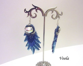 Earrings. Denim. With rhinestones.