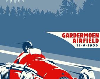 Vintage 1950 OSLO Grand Prix Poster Print