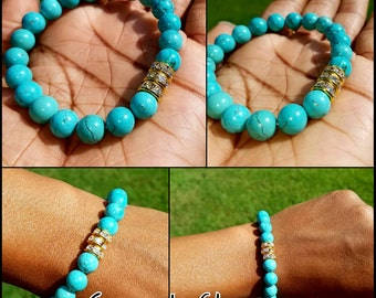 8mm Womens Beaded Turquoise Bracelet w/Gold Rhinestone Adornments! So beautiful! Boho crystals unisex mens glitter