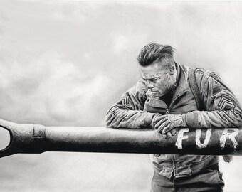 fury movie pencil drawing war brad pitt print art artwork