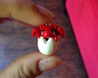 Miniature Cute Baby Dragon Hatchling Polymer Clay Charm