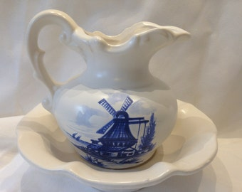 Small McCoy Pitcher and Basin, Ivory with Blue Windmill