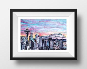 Seattle - illustration - giclee print