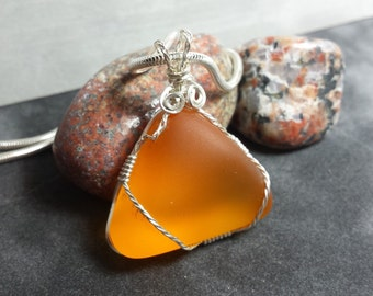 Wire Wrapped Amber Seaglass - Argentium