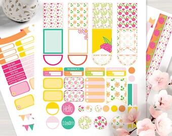 Printable Flowers 2 Planner Stickers, Floral, Erin Condren, Instant Download, Lifeplanner, ECLP