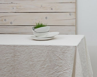 Linen Tablecloth - Natural White - Stone Washed Linen Tablecloth - Rustic Wedding - Natural Flax - Light Ivory - various sizes