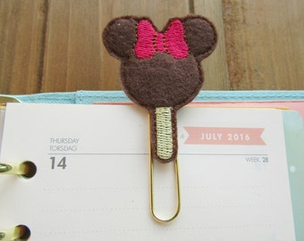 Minnie Mouse Ice Ears Cream Bar Planner Paper Clip! Cute Planner Clip Ice Cream Bar Bookmark, Gold Paper Clip for Planner Spreads, Planner G