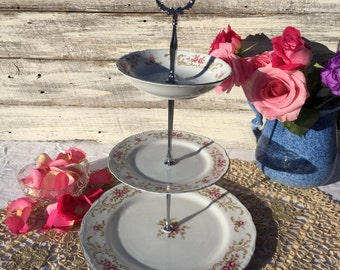 "Vintage 3 Tier Cake Stand, ""Style House - Rose Boroque""  Cupcake / Dessert Display, Fine Bone China, Engagement, Wedding or Baby Shower"