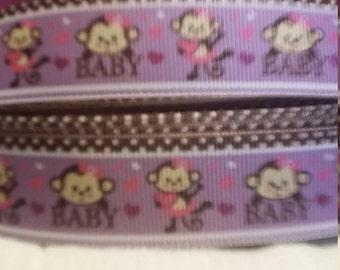 3 yards,  7/8' grosgrain ribbon baby monkey design