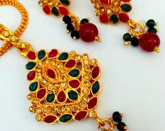 Elegant Indian Jewelry Gold Plated Beads, Studded with Red, Green Polki Kundan, Brrown cz Pendant & Stud_style Earrings Set