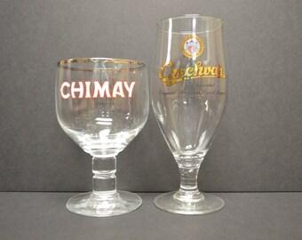 Chimay Belgian Ale and Czechvar Cervoise Lager Beer Goblets