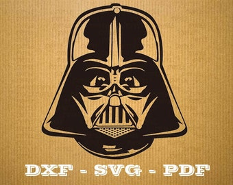 Star Wars Svg Files Format .dxf helmet darth vader. CNC cutting file - Cricut - Vector vinyl - DXF SVG Pdf file, star wars svg