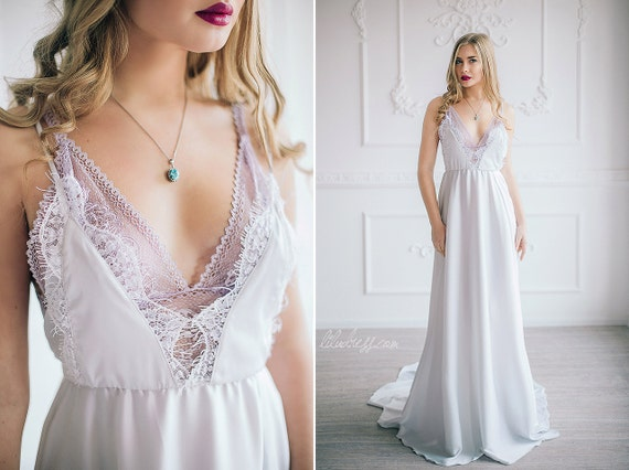 Elegant Silk And Lace Wedding Dress White Prom By LiluBridal