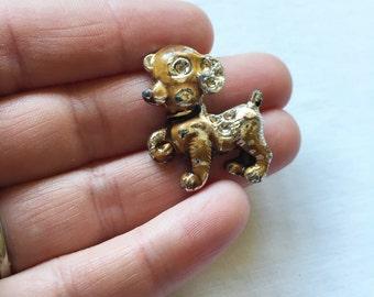 Vintage Worn Enamel Puppy Dog Brooch Pin