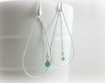 Sterling silver hoop earrings, 925 Sterling silver, Stainless steel earrings, oval earrings, watermark earrings, large earrings,