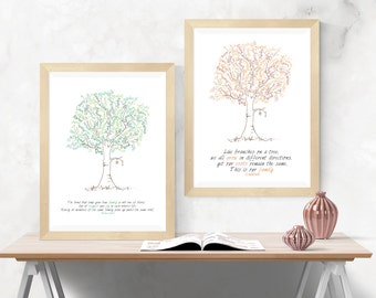 Custom Printable Family Tree Design - Perfect Gift Idea - Spring or Autumn Colours Personalised, Personalized Digital File Print At Home