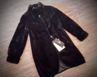 Fur Coat/ Real Saga mink fur/ Full skinned sheared blueblack color