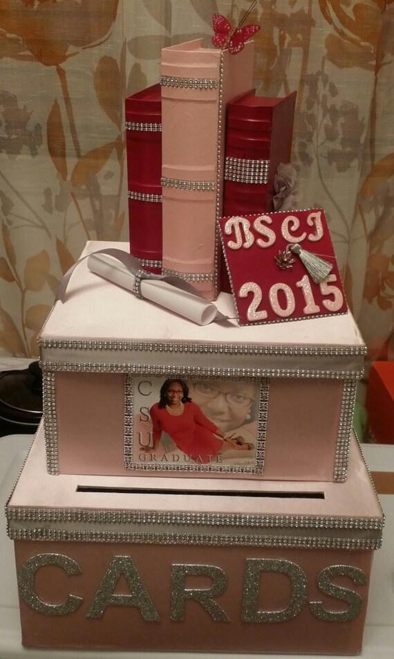 Items similar to graduation card box bridal shower for Homemade money box ideas