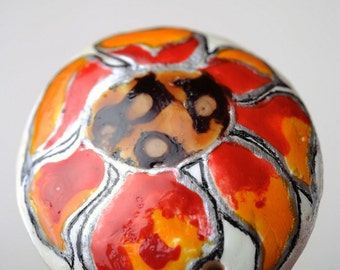 Ceramic pendant 'Fire flower'