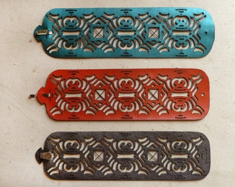 Deco Laser Cut Leather Cuff Bracelet