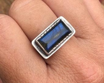 Labradorite Ring, Gemstone Jewelry, Natural Stone Ring, Blue Ring, Statement Ring, Labradorite