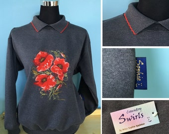 Poppy Sweater with collar beautifully detailed embroidery , Dark Grey charcoal sweater designed by Sophie Appleton popular British artist
