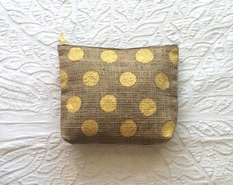 Gold Dot Burlap Clutch