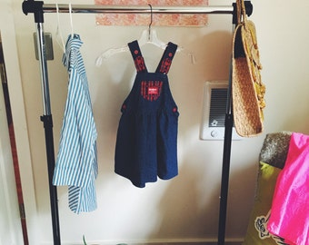 Darling Vintage Baby Osh Kosh B'gosh Plaid Dress (made in the USA) Denim and Plaid with Bow