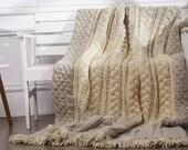 Plaid hand knitted Soft merino wool Chunky blanket
