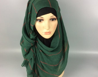 Green Large Maxi Long Wide Striped Viscose Scarf/Hijab Shawl/Wrap