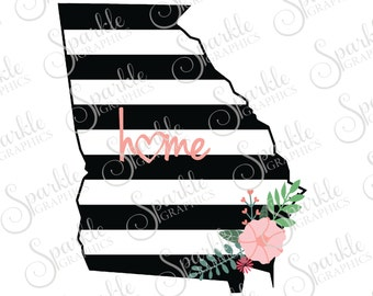 Georgia Cut File Stripes Flowers Stripes State Black And White Stripes State Svg Dxf Eps Png Silhouette Cricut Cut File Commercial Use