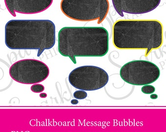Chalkboard Message Bubble Clipart Chalkboard Speech Bubbles Clipart Bubbles Speech Bubble Sticker Speech Bubble Label Scrapbooking Bright