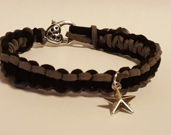 Black & Grey Suede Star Bracelet