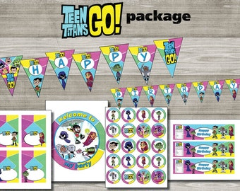 Instand DL - Teen titans GO Birthday package Printable- Printable (NON Personalized)
