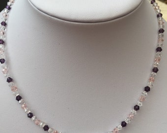 Plum, pink and clear crystal necklace
