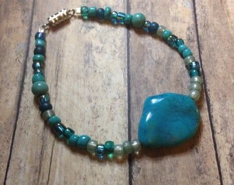 Turquoise & seed bead bracelet