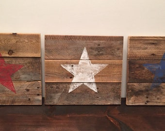Red, White & Blue Star Sign
