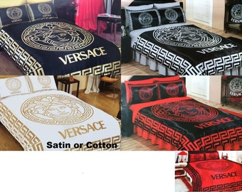 Versace Bedding Set Queen Black Gold Red White Silver Satin Sheet Pillowcases Bedroom Duvet Cover Luxury Comfortable High Quality