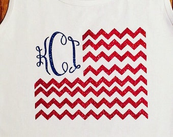 Chevron American flag design with initial on tee or tank