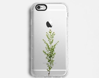 Plant iPhone 7 Plus case, iPhone 7 case, iPhone 6s plus case, iPhone 6s case, iPhone SE case, clear case, green olive minimal C047