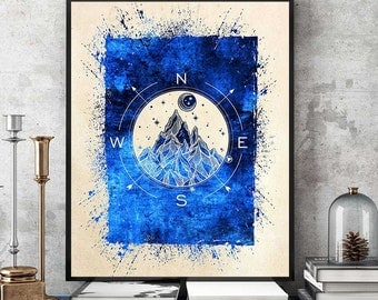 Compass Rose Wall Art, Compass Print, Compass Art, Mountain Art, North Star, Moon And Stars Print, Watercolor Compass (N553)