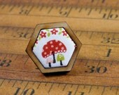 Mini Hexagon ring Mushrooms - Jewelry hexie wood white fabric