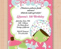 Spa party for Girls Personalized Birthday PARTY Invitation, digital invitation Spa party, invitation for girls Spa party N7