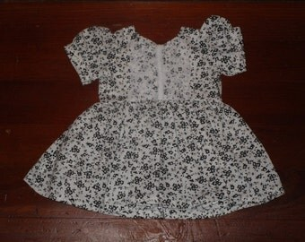 White and Black Floral Dress for 18 in Dolls